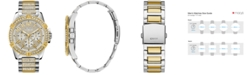 GUESS Men's Pavé Crystal-Set Two-Tone Stainless Steel Bracelet Watch 50mm