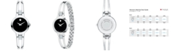 Movado Women's Swiss Amorosa Diamond-Accent Stainless Steel Bangle Bracelet Watch 24mm