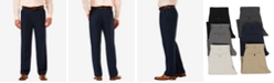 Haggar Men's Cool 18 PRO Classic-Fit Expandable Waist Pleated Stretch Dress Pants