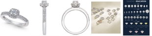 Macy's Diamond Halo Engagement Ring (1/2 ct. t.w) in 14k White Gold