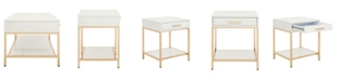 Office Star Alios End Table with Gold Chrome Plated Base
