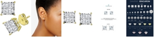 TruMiracle Diamond Princess Cluster Stud Earrings (1/2 ct. t.w.) in 14k White, Yellow or Rose Gold