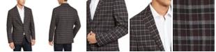 Kenneth Cole Reaction Men's Slim-Fit Stretch Burgundy/Gray Plaid Sport Coat