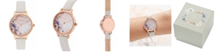 Olivia Burton Women's Watercolour Floral Blush Leather Strap Watch 30mm