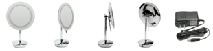 ALFI brand Chrome Tabletop Round 5x Magnifying Cosmetic Mirror with Light