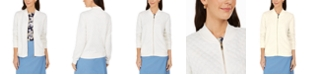 Charter Club Petite Textured Bomber Jacket, Created for Macy's