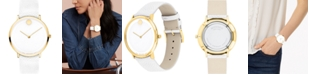 Movado Women's Swiss Modern 47 White Leather Strap Watch 40mm, Created for Macy's