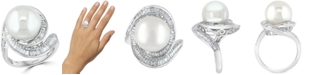 EFFY Collection EFFY® Cultured Freshwater Pearl (12-1/2mm) & Diamond (3/4 ct. t.w.) Ring in 14k White Gold