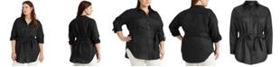 Lauren Ralph Lauren Plus Size Buttoned Linen Top