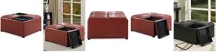 Simpli Home Avalon Faux Leather Coffee Table Storage Ottoman