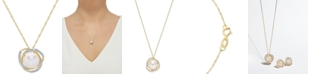 """Honora Cultured Freshwater Pearl (8mm) & Diamond (1/8 ct. t.w.) 18"""" Pendant Necklace in 14k Yellow Gold or White Gold"""