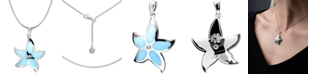 """Marahlago Larimar Starfish 21"""" & White Topaz Accent Pendant Necklace in Sterling Silver"""