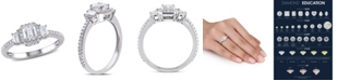 Macy's Certified Diamond (1 ct. t.w.) Emerald & Trapezoid-Shape Three-Stone Halo Engagement Ring in 14k White Gold