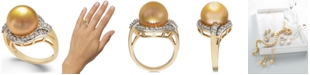 Macy's Cultured Golden South Sea Pearl (12mm) and Diamond (5/8 ct. t.w.) Ring in 14k Gold