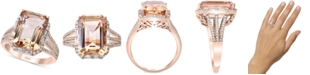 EFFY Collection EFFY® Morganite (7-1/10 ct. t.w.) & Diamond (1/3 ct. t.w.) Ring in 14k Rose Gold