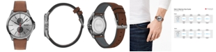 HUGO Men's #Jump Brown Leather Strap Watch 40mm