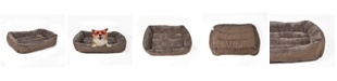 Happycare Textiles Plush to Suede Rectangle Pet Bed