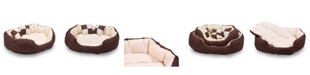 Happycare Textiles  Durable Bolster Sleeper Oval Pet Bed with Removable Reversible Insert Cushion and Additional Two Pillow Collection
