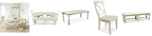 Furniture Aberdeen Worn White Expandable Dining Furniture, 6-Pc. Set (Table, 4 Side Chairs & Bench)