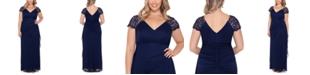 XSCAPE Plus Size Lace-Shoulder Gown