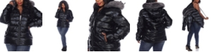 White Mark Women's Plus Size Metallic Puffer Coat with Hoodie