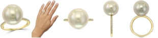 EFFY Collection EFFY® Cultured Freshwater Pearl (14-1/2mm) & Diamond (1/8 ct. t.w.) Ring in 14k Gold