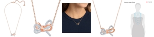 "Swarovski Two-Tone Pavé Bow 15-2/3"" Pendant Necklace"