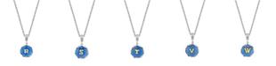 "2028 Silver Tone Blue Enamel Gold Tone Initial Necklace 16"" Adjustable"
