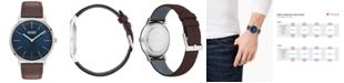 HUGO Men's #Exist Ultra Slim Brown Leather Strap Watch 40mm