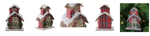 """Northlight 5"""" Classic Red Plaid Glitter Snow Covered Barn Christmas Ornament"""