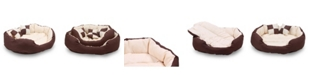 """Happycare Textiles Durable Bolster Sleeper Oval Pet Bed with Removable Reversible Insert Cushion and Additional Two Pillow, 34""""x27"""""""