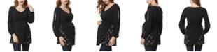 kimi + kai Kacey Embroidered Mesh Maternity Blouse