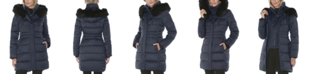 Tahari Faux-Fur Trim Hooded Puffer Coat