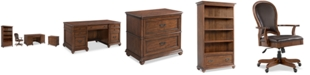 Furniture Clinton Hill Cherry Home Office, 4-Pc. Set (Executive Desk, Lateral File Cabinet, Open Bookcase & Leather Desk Chair)
