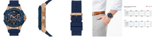 GUESS Men's Genesis Blue Silicone Strap Watch 51.5mm