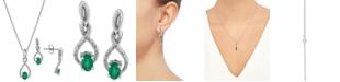 Macy's 2-Pc. Set Emerald (7/8 ct. t.w.) & Diamond (1/20 ct. t.w.) Pendant Neckalce & Matching Drop Earrings in Sterling Silver (Also in Sapphire)