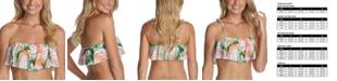 Raisins Juniors' Palma Printed Flounce Bandeau Bikini Top