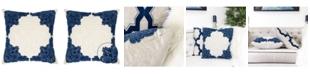 Homey Cozy Fiona Applique Linen Square Decorative Throw Pillow