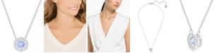 "Swarovski Silver-Tone Dancing Crystal Pendant Necklace, 14-7/8"" + 2"" extender"
