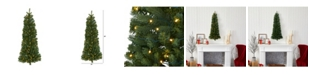 Nearly Natural Flat Back Wall Hanging Artificial Christmas Tree with 50 Clear LED Lights