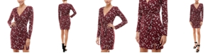 Trixxi Juniors' Surplice Printed Bodycon Dress