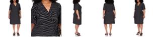 Michael Kors Plus Size Dot-Print Faux-Wrap Dress