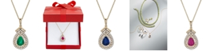 """Macy's Emerald (3/4 ct. t.w.) & Diamond (1/3 ct. t.w.) 18"""" Pendant Necklace in 14k Gold (Also Available in Sapphire or Certified Ruby)"""
