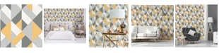 "Brewster Home Fashions Delano Structure Geo Wallpaper - 396"" x 20.5"" x 0.025"""