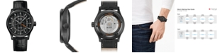 Mido Men's Swiss Automatic Multifort Dual Time Black Leather Strap Watch 42mm