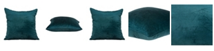 Parkland Collection Bento Transitional Teal Solid Pillow Cover with Polyester Insert