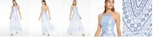 Trixxi Juniors' Sequin Geo-Print Strappy-Back Gown