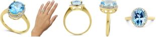 Macy's Blue Topaz (3-3/4 ct. t.w.) & Diamond (1/8 ct. t.w.) Halo Ring in 14k Gold
