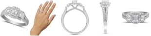 Macy's Diamond Emerald-Cut Halo Engagement Ring (1-1/2 ct. t.w.) in 14k White Gold