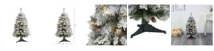 Nearly Natural Flocked River Mountain Pine Artificial Christmas Tree with Pinecones and 50 Clear LED Lights
